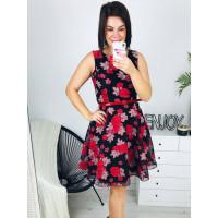 Kvetované spoločenské šaty s opaskom