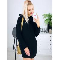 Čierne svetríkové šaty s kapucňou