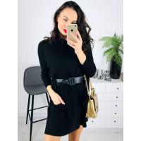 Čierne svetríkové šaty s opaskom