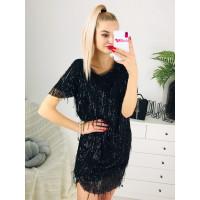 Dámske čierne ligotavé šaty
