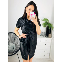Dámske čierne koženkové šaty