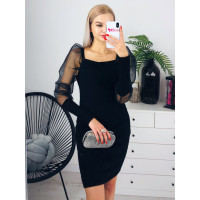 Čierne šaty s balonikovými rukávmi