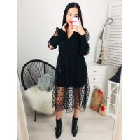 Štýlové dámske čierne šaty s bodkami