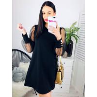 Čierne šaty s balónovými rukávmi