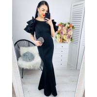Dámske čierne dlhé spoločenské šaty