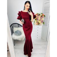 Dámske bordové dlhé spoločenské šaty
